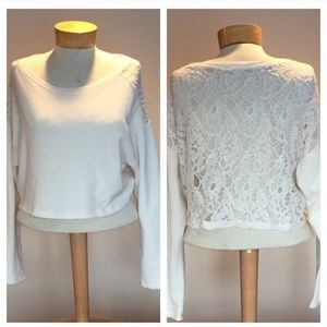 Hollister off white lace back top Size medium